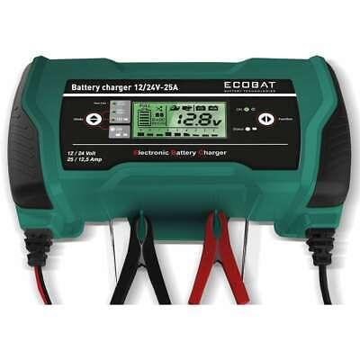 ECOBAT Cargador de Batería 12/24 V 25 A Digital Vehículos Coches Motos...