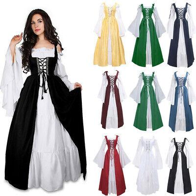 Frauen Vintage Mittelalter Renaissance Kleid Kostüme Prinzessin Gothic Costume