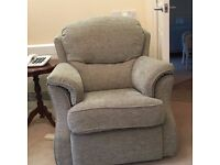 Nearly new good quality 2 seater grey/green sofa and matching chair.