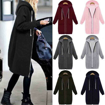 Women Warm Zipper Hoodie Sweater Hooded Long Jacket Coat Sweatshirt Plus Size US