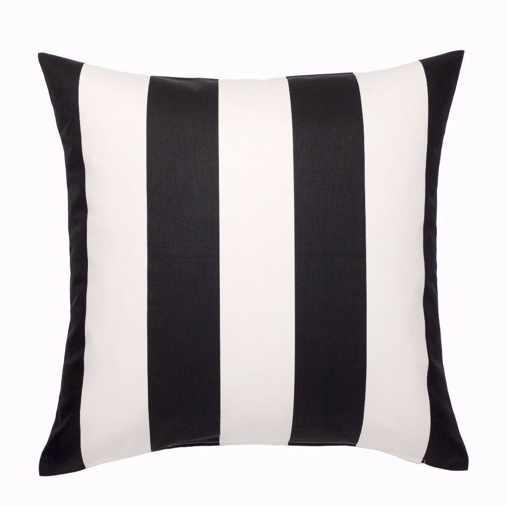 3 Modern Cushions with Covers-Black/Yellow, Black/White Stripes, Blue