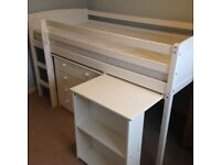 Child mid rise white bed+desk+chest drawers upgraded mattress current Argos stock 1 yr old