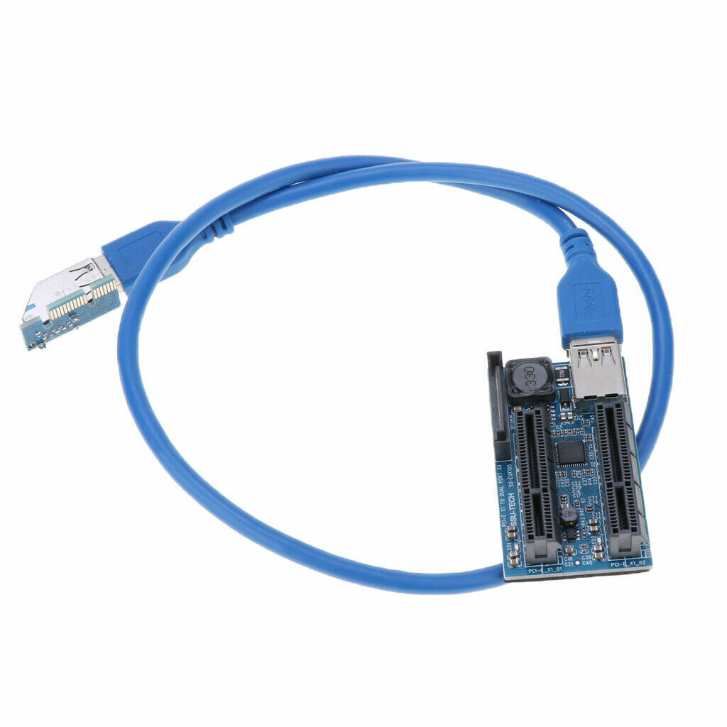 как выглядит PCIE PCI-Express X1 to Dual 4X Adapter Extension cable Riser Cable PCIe x4 x8x16 фото