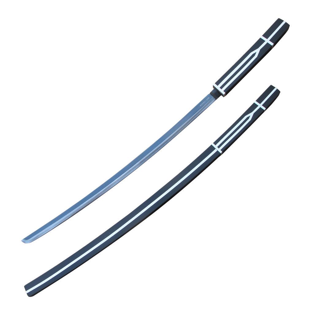 "40"" Black and White Katana Steel Samurai Katana Stick Sword Shirasaya-ps9450"