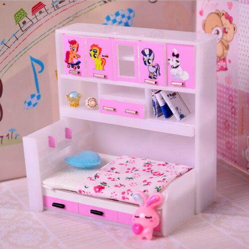 Dolls House Black Walnut Bedside Chest Nightstand Miniature Bedroom Furniture