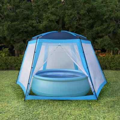 vidaXL Carpa para Piscinas 590x520x250cm Azul Accesorios para Jardín Terraza