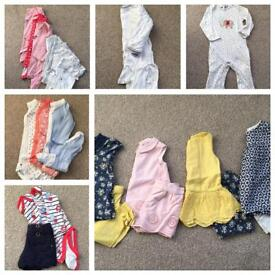 Large bundle of girls' clothes 9-12 mths