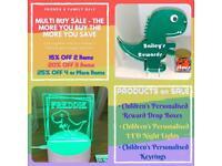 Children's personalised reward drop boxes and nightlights