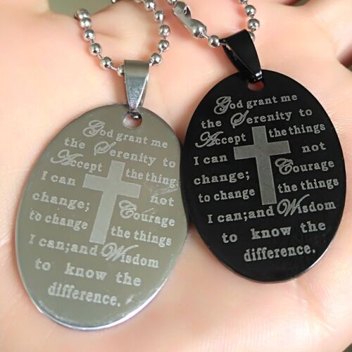 30 black silver Serenity Prayer Bible Cross Stainless Steel Pendant Necklaces