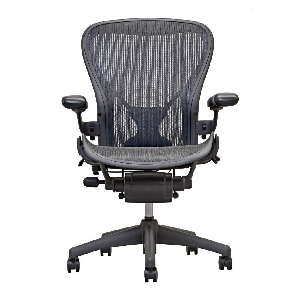 Herman Miller Aeron Chair Fully Loaded Size B Posturefit Sl Carbon Black Granite