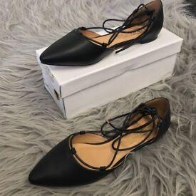 Ladies Women & Girls Designer ASOS Truffle Black Nicky5 PU Lace Sandals