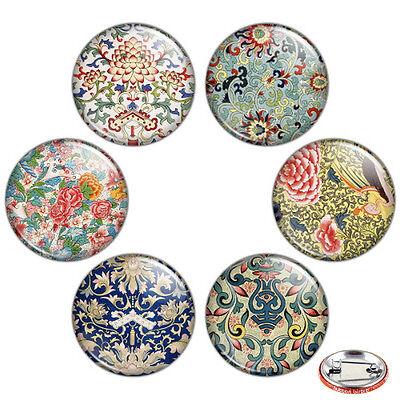 "Oriental Floral Motif 1.25"" Pinback Button BADGE SET #1 Novelty Pins Flower Gift"