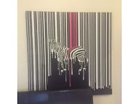 Large dripping zebra canvas cost £299 from Dwell quick sale £30 not boconcept Ikea John Lewis heals