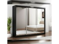 🔰🔰BEST QUALITY & PRICE🔰🔰 LUX FULL MIRROR 250 CM WIDE WARDROBE IN BLACK WHITE OR GREY