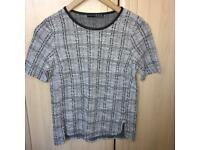 Atmosphere Black & White Boucle Top Size 6