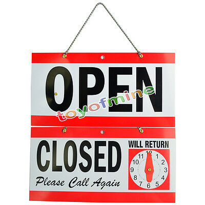Open Closed Sign Will Return Clock Business Hourshanging 2-sided 5.5x11.5