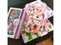 Baby Doll+ Bedding for doll's pram/cradle+ crockery (handmade)