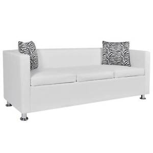 White Artificial Leather 3-Seater Sofa(SKU242211)vidaXL Mount Kuring-gai Hornsby Area Preview