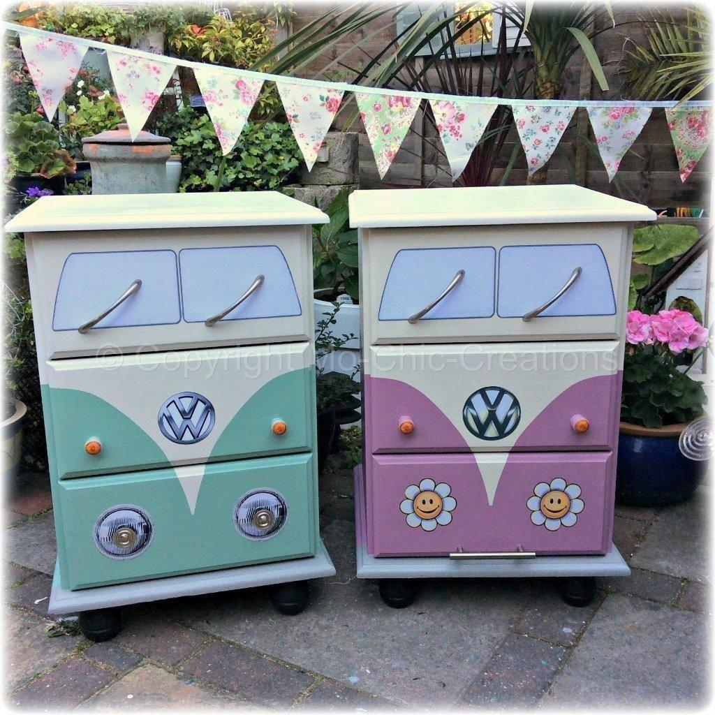 Vintage Retro VW Camper Van Style Chest Of Drawers Bedside