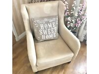 Cream Beige Patterned Arm Chair