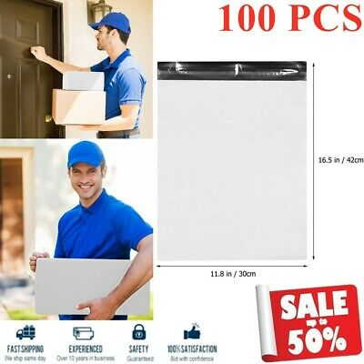 100PCS Waterproof White Self Sealing Express Mailing Bags Plastic Packing Pouche