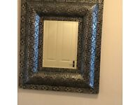 Black with silver overlay large mirror