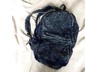 Acid wash/denim styled Topman rucksack