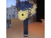BRAND NEW Artificial Flowers Blue Glass Vase