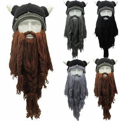Viking Beard Hats (Knitted Long Beard Viking Hat Ski Mask Caps Barbarian Beanie Wig)