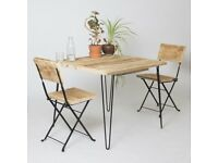 Outdoor Table and Chair Set Made in East London - Reclaimed Wood Hairpin Legs Rustic Garden Patio