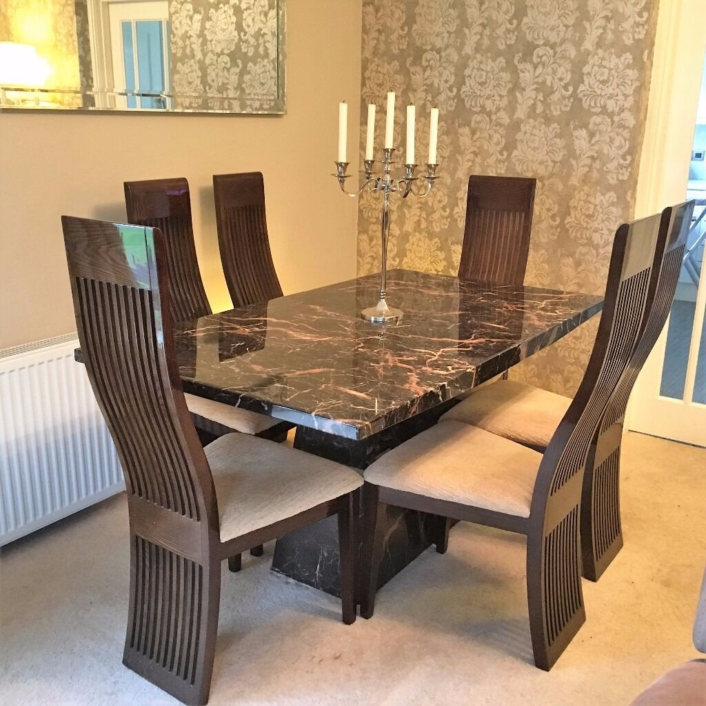 Italian Design Dining Table And 6 Chairs With Matching Unit