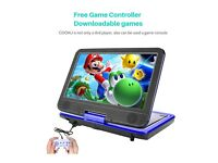 "NEW Portable DVD player 10.5"" TFT Multi Format USB SD Card TV + Game Controller!"