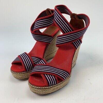 Tory Burch Womens Espadrille Wedge Criss Cross Sandals Red Striped Peep Toe 6 B