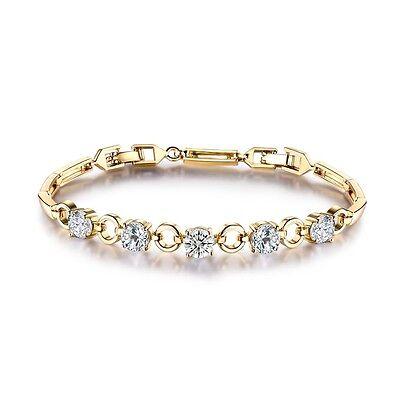 Bezel-Set Round Topaz with bar link chain bracelet 7.5'' 24k yellow gold filled