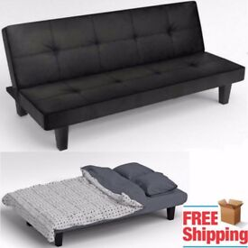 Click Clack Sofa Bed Black Faux Leather 2 - 3 Seater Modern Double Small Settee