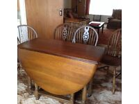 Priory Classic Design Dark Oak Dining Table and 4 Chairs