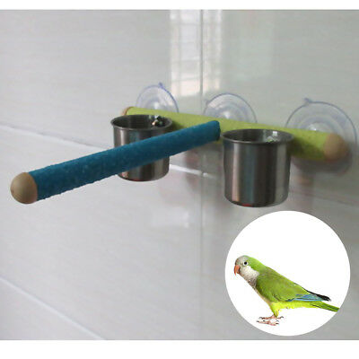 Parrots Shower Perch Bird Paw Grinding Sucker Stand with 2 Feeding Cup