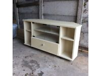 Corner TV cabinet - painted off white