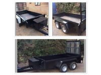 TWIN AXLE PLANT / GENERAL PURPOSE TRAILER - 8FT X 4FT - DROP TAILBOARD - ATTACHED TOOLBOX!