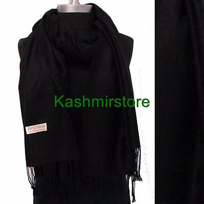 New Pashmina Paisley Floral Silk Wool Scarf Wrap Shawl Soft Classic Black