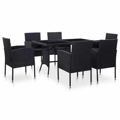 Garden Furniture - vidaXL Outdoor Dining Set 7 Pieces Poly Rattan Black Garden Patio Furniture