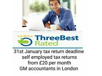self assessment tax return,CIS ,bookkeeping services,self employed ,vat,low cost ,cheap accountants