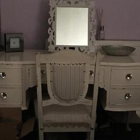 A large shabby chic dressing table with mirror and chair - SOLD