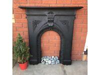 Antique Cast Iron Fireplace Fire Grate Vintage Fire Place Retro Fire surround
