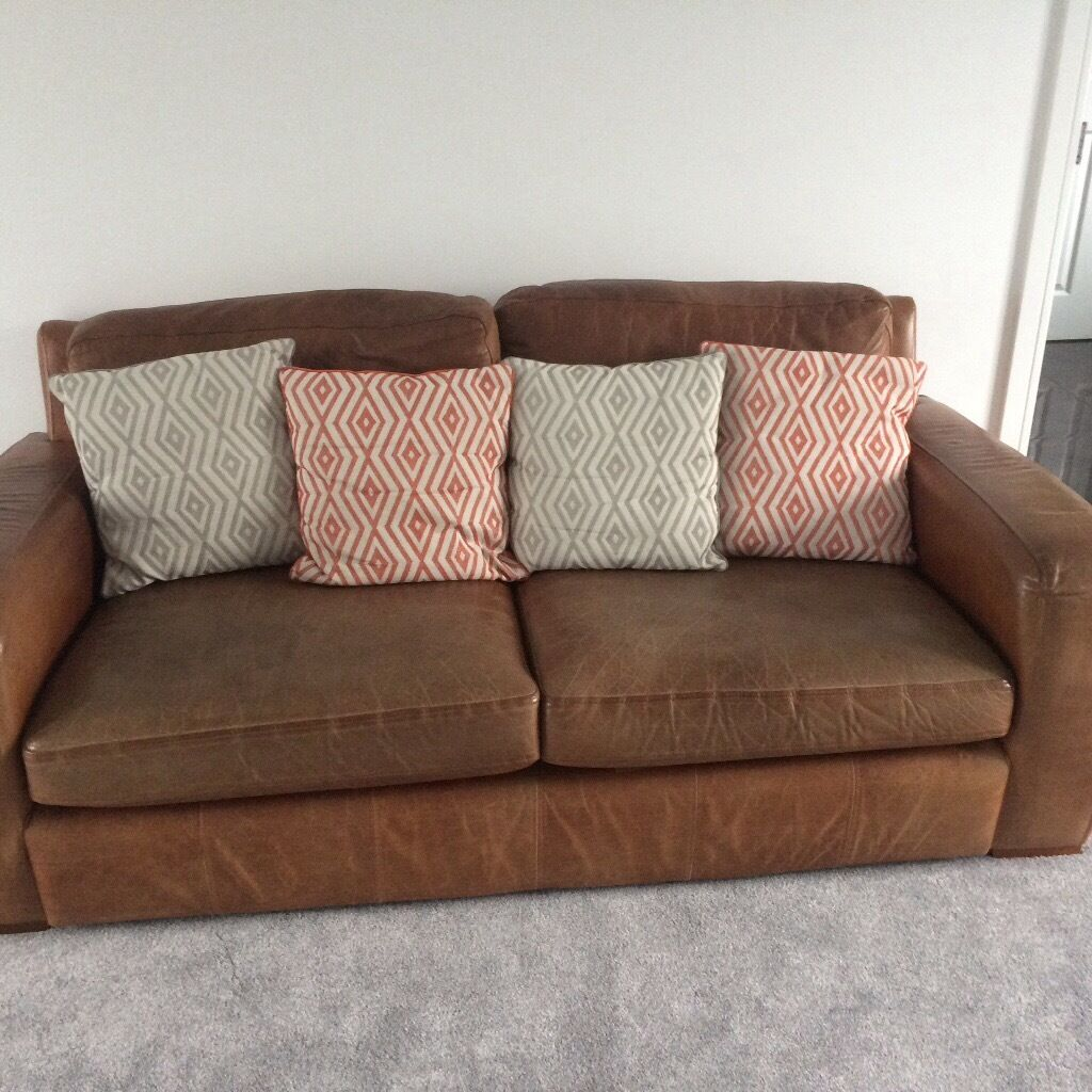2 Large Soft Grain Tan Leather Sofas In Washington Tyne And Wear Gumtree