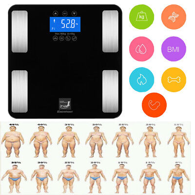 Digital Lcd Bathroom Body Fat Weight Scale Bmi Water Calories Muscle Analyser Us