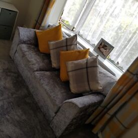 Velvet sofa 2 & 3 seater with footstool