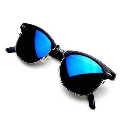 Retro Fashion Half Frame Flash Mirror Lens Club Vintage Master Sunglasses
