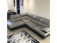 Leather corner sofa with armchair & footstool