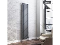 Designer Radiator 1800x376mm Anthracite Single Flat Panel Vertical 2719BTU